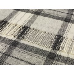 Skye check grey shetland 140cm x 185cm pure new wool throw