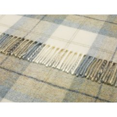 Skye check aqua shetland 140cm x 185cm pure new wool throw