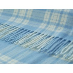 Menzies baby blue/white soft lambswool throw