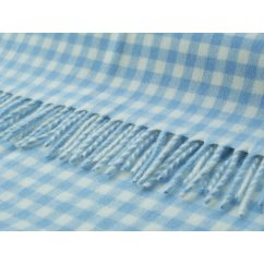 Gingham baby blue/white soft lambswool throw