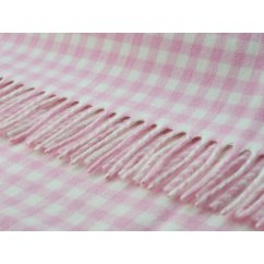 Gingham baby pink/white soft lambswool throw