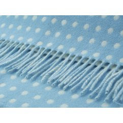 Spots baby blue/white soft lambswool throw