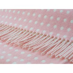 Spots baby pink/white soft lambswool throw
