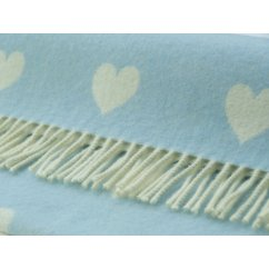 Jac hearts baby blue and white soft lambswool throw