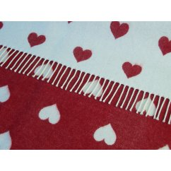 Jac hearts baby red/white soft lambswool throw