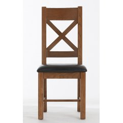 bretagne rustic oak cross back pu leather seat chair