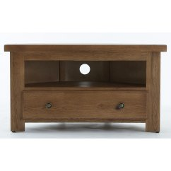Bretagne rustic oak corner tv unit
