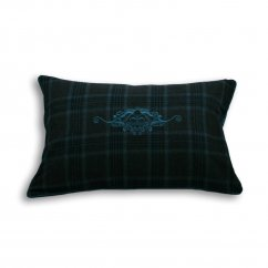 Verbier teal tartan crown check cushion cover, 40 x 60cm