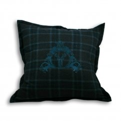 Verbier teal tartan stag check cushion cover, 55cm