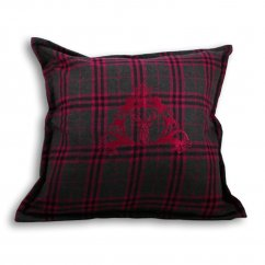 Zermatt fuschia pink tartan stag check cushion cover, 55cm