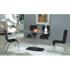 Bali clear glass dining set with 4 black chairs