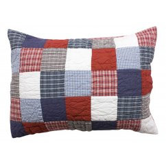 Mckenzie hand quilted navy blue and red pillowcase