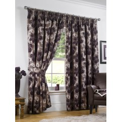 Hampton aubergine heavyweight floral pencil pleat readymade curtains