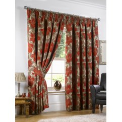 Hampton chilli floral pencil pleat readymade curtains