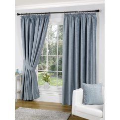 Heather duckegg pencil pleat readymade curtain
