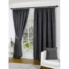 heather chenille grey pencil pleat readymade curtains