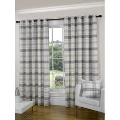 Isla natural check eyelet readymade curtain