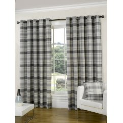 Isla slate check eyelet readymade curtain