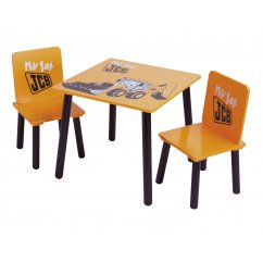 JCB yellow painted desk and 2 chairs