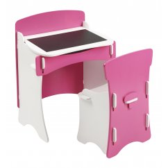 Blush pink and white girls desk chair set