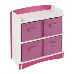 Blush pink and white girls 4 drawer material storage