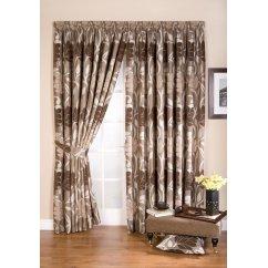 Lucille taupe floral pencil pleat readymade curtain