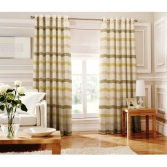 Judy green striped readymade eyelet curtain