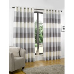 Rio silver stripe eyelet readymade curtain