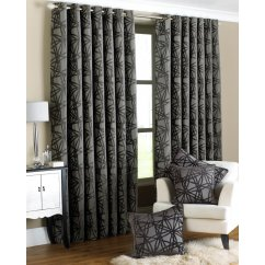 Diverse black and grey criss cross readymade eyelet curtains