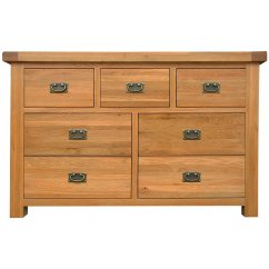 Montreux solid oak 3 over 4 wide chest drawers