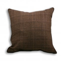 Courcheval brown tartan check cushion cover, 55cm