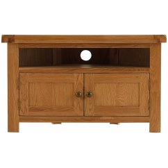 Montreux solid oak corner tv unit