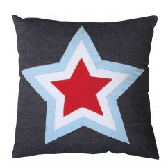 Stars denim 40cm x 40cm filled cushion