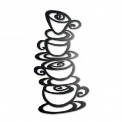 Coffee cup tower handmade metal wallart