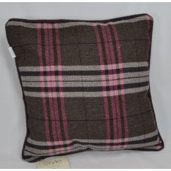 Chequers aubergine piped cushion cover, 43cm