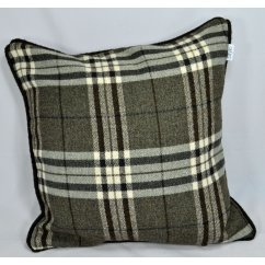 Chequers charcoal piped cushion cover, 43cm