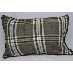 Chequers charcoal 60cm x 40cm rectangle piped cushion cover