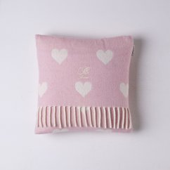 Hearts pink and white lambswool cushion feather filled