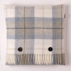 Skye check aqua 40cm feather filled cushion