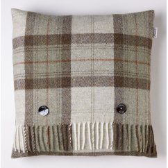 Skye check sage 40cm feather filled cushion