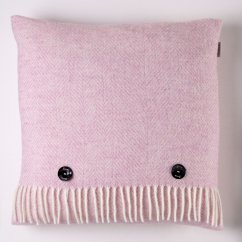 Variegated herringbone pink heather 40cm feather filled cushion
