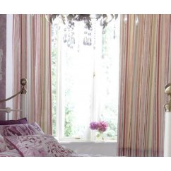 Ilona vintage floral plum striped pencil pleat readymade curtains