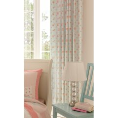 "Scottie dog pink and blue gingham tab top readymade curtains 66"" x 72"""