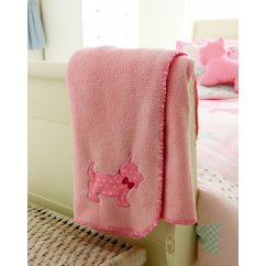 Scottie dog pink fleece throw 120cm x 150cm