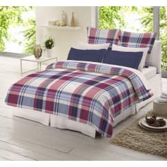 blue and red check tartan 100% brushed cotton duvet cover