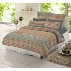 Multi colour striped 100% brushed cotton duvet cover