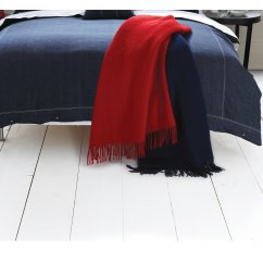 Hampton red pure new wool wafer patterned throw 150cm x 183cm