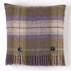Skye check grape feather filled cushion 40cm