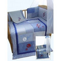 Blue boys rocket space themed patchwork 5 piece cot/cotbed bedding bale set