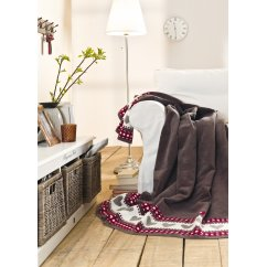 Sorrento love heart and check blanket 150cm x 200cm - comes in brown or ivory